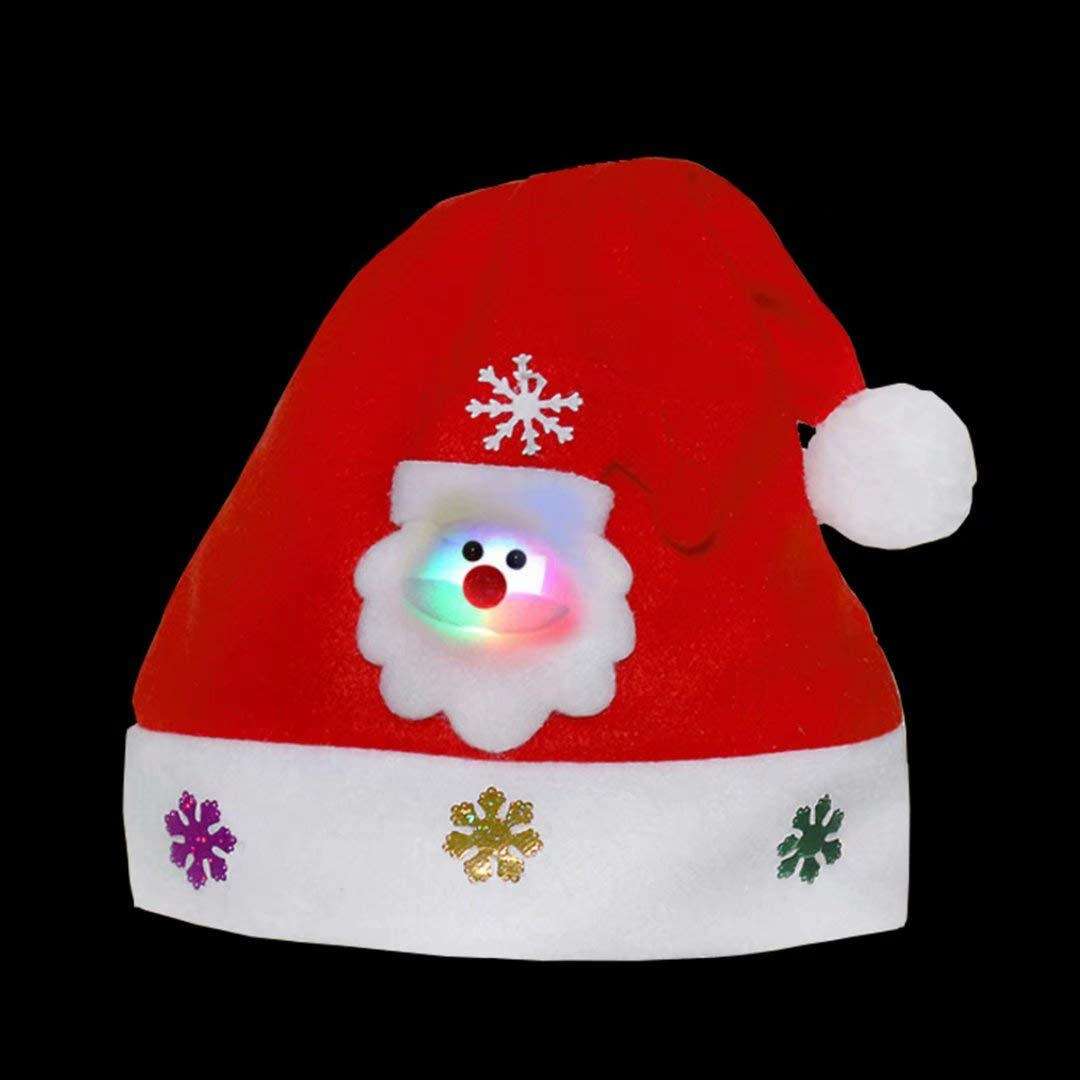 Kids Christmas Santa Hat Unisex Velvet Santa Claus Cap Soft Comfort Party Costume Santa Hats Great Christmas Gifts for 2-8 Years Old Children-3 Packages