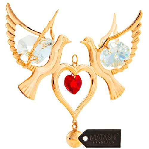 Ornament Love (Matashi Red Crystal 24K Goldplated Studded Love Doves Hanging Ornament)