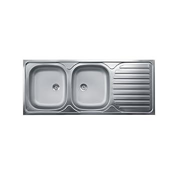 Lavello Cucina Due Vasche Con Gocciolatoio A Destra Acciaio Satinato ...