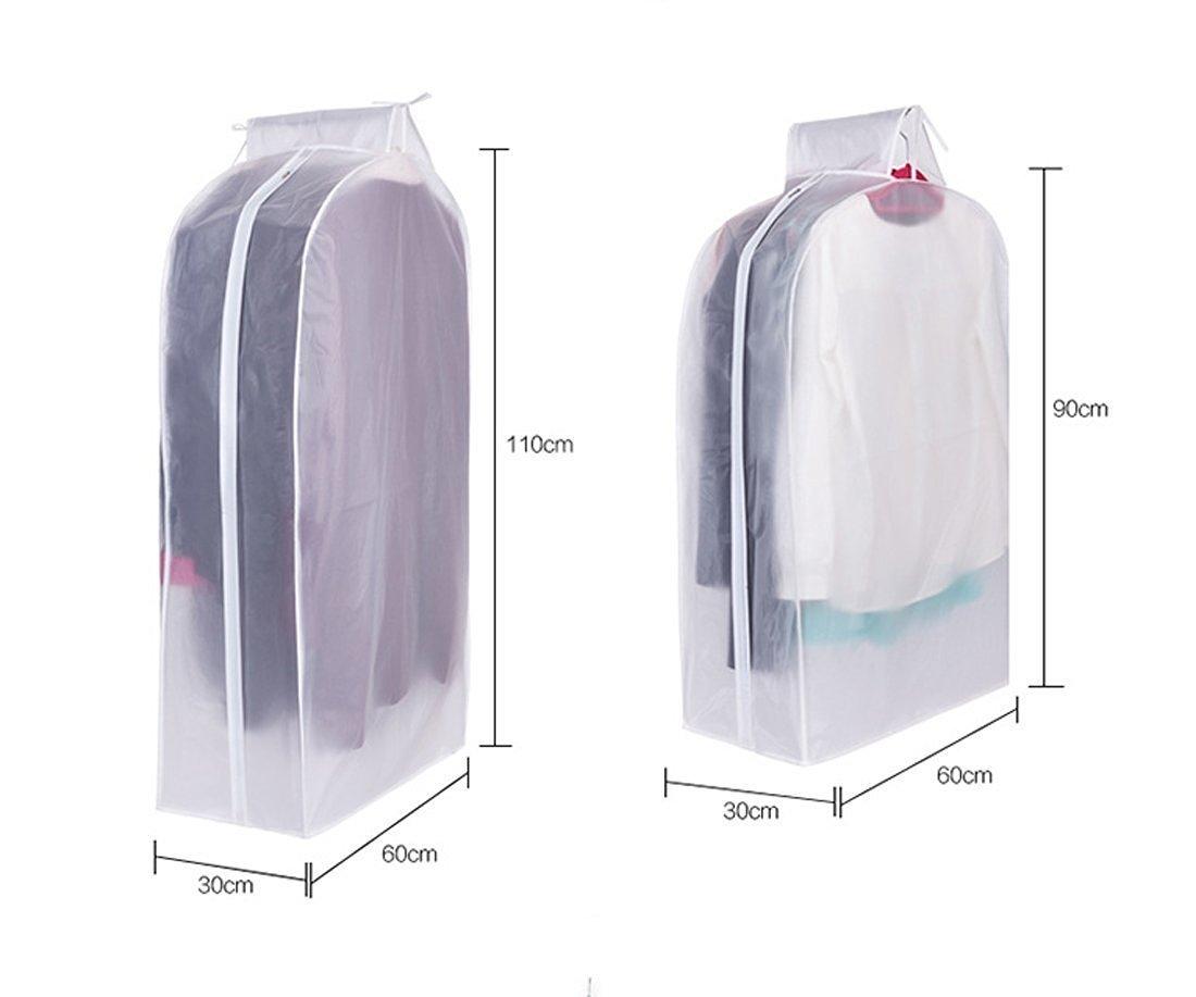 bianco Milopon Sacchi vestiti abiti abbigliamento lagerung haengetasche tasche impermeabile anti polvere trasparente vedere attraverso indumenti copertura con chiusura lampo 60*30*90cm