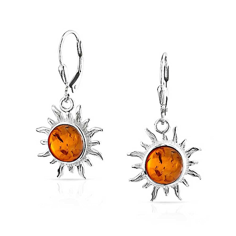 Bling Jewelry Leverback Synthetic Amber Sun Dangle Earrings 925 Sterling Silver