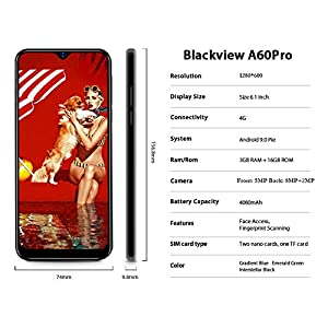 4G Mobile Phone, Blakview A60 Pro 3GB RAM+16GB ROM UK Version, Android 9.0, 6.1 Inch Waterdrop Display, SIM Free…