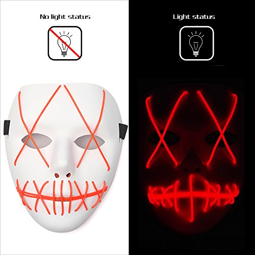 Ansee Scary Mask Halloween Cosplay Led Costume Mask El Wire Light Up Mask for Festival Parties (Red)]()