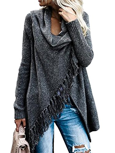 Womens Cardigans Long Sleeve Shawls Wraps Poncho with Speckled Fringe Button Up Knit Outwear