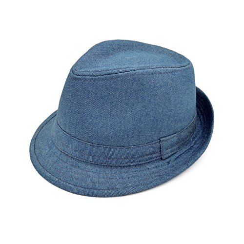 Premium Jeans Fabric Solid Color Fedora Hat, Light -