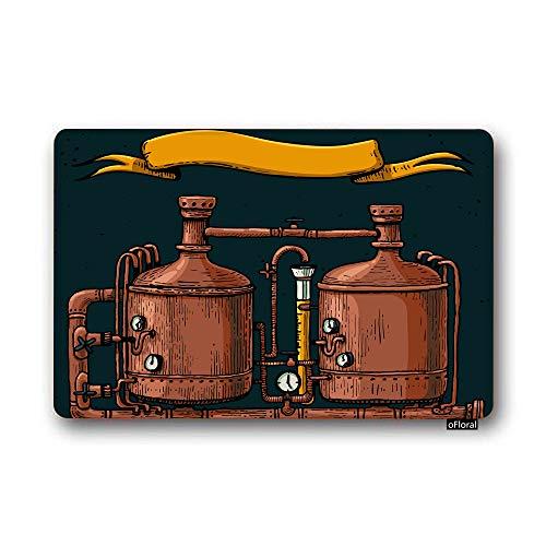 oFloral Brewery Door Mat Beer Equipment Copper Factory Vintage Retro Drink Easy Clean Non-Slip Back Entrance Mat for Front Door Bedroom Washroom ()