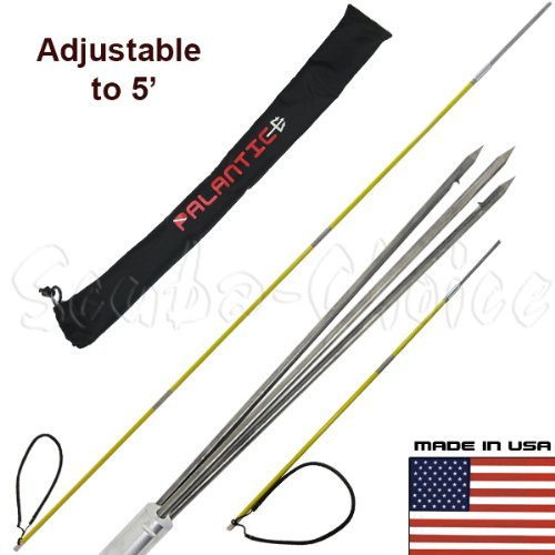 Scuba Choice 7' Travel Spearfishing 3-Piece Pole Spear 3 Prong Barb Paralyzer Tip Adjustable to 5' with Bag ()