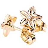 18K Solid Yellow Gold and Diamond Flower Earrings For Women Floral Post Rose Studs Gift