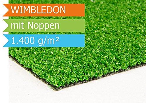 Rasenteppich Wimbledon - 2,00m x 4,00m | Der Standard Balkon-Kunstrasen | Florhöhe ca 6mm | Gewicht 1.400g/m² | UV-beständig | mit Drainagenoppen und Wasserdurchlässig 30 Liter/Min/m² | Der Standard-Kunststoffrasen | Kunstrasenteppich