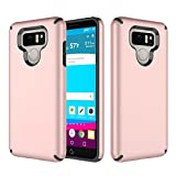 LG G6 CASE, G6 CASE, GORGCASE [Drop Protection] MATTE PC 2 PIECES ANTI SLIP Dual Layer Shockproof Hard Hybird Slim Defender Armor Protector Cover for LG G6 (Rose Gold)