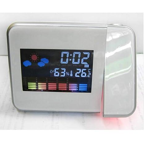 YB Reloj DE Alarma DE PROYECCIÓN DE Clima Digital multifunción Retroiluminación LED de Pantalla Colorida Snooze