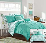 Chic Home 7 Piece Louisville Pinch Pleated and Ruffled Chevron Print Reversible Bed in a Bag Comforter Set Sheets, Twin X-Large, Aqua
