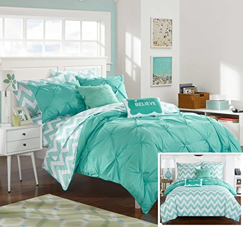 Chic Home 7 Piece Louisville Pinch Pleated and Ruffled Chevron Print Reversible Bed In a Bag Comforter Set Sheets, Twin X-Large, Aqua - Aqua Bedding