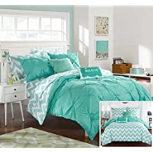 Chic Home 7 Piece Louisville Pinch Pleated & Ruffled Chevron Print Reversible Bed Sheets, Twin X-Large, Aqua