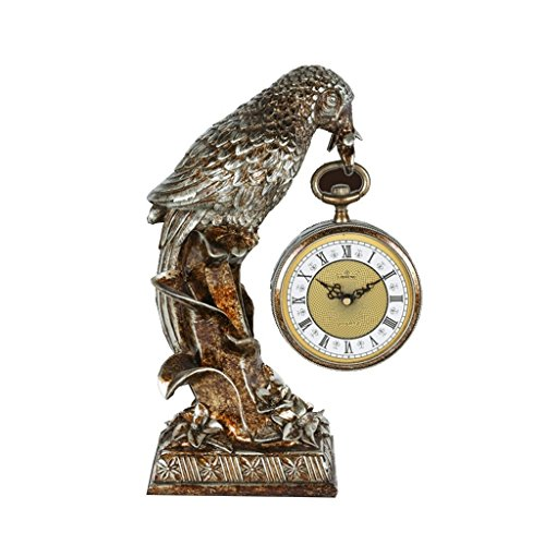 Health UK Clock- Clock 10-Inch Parrot Resin Carving Entrance TV Cabinet Sweep Seconds Mute Table Clock Welcome by ZAZAZA