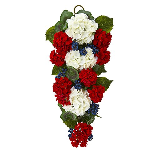 Nearly Natural 4325 26 in. Geranium and Blue Berry Artificial Teardrop Wreaths Multi (Of July Furniture Sale 4th)