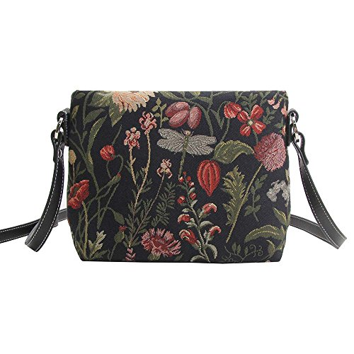 Signare Womens Tapestry Fashion Shoulder Handbag Across Body Messenger Bag Various Designs Morning Garden Black