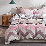 Pink and Purple Duvet Covers Uozzi Bedding 3 Piece Duvet Cover Set (1 Duvet Cover + 2 Pillow Shams) 800 - TC Luxury Hypoallergenic Comforter Cover (Pink & Purple, Queen (1duvet Cover + 2 Pillowcase))