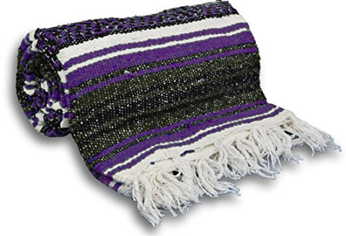 YogaAccessories Traditional Mexican Yoga Blanket ( Dark Purple)