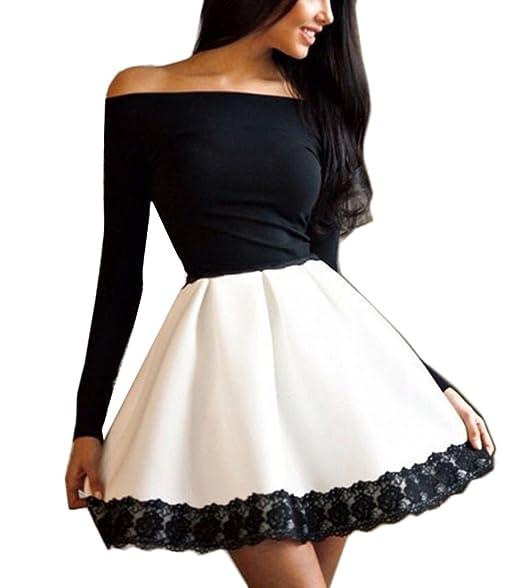 stile squisito miglior valore di bell'aspetto Donne Vestiti da Sera Eleganti Corto Vintage Splicing Pizzo ...