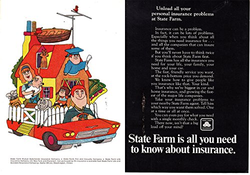 1968 State Farm Insurance  Unload All Your Personal  State Farm Insurance Print Ad