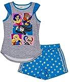 DC Comics Big Girls' Super Hero 2-Piece Pajama Short Set, Gryblu, 7/8