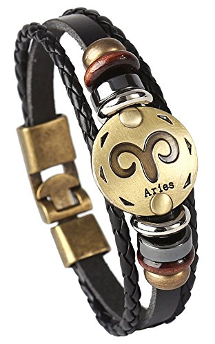 Hamoery Punk Alloy Leather Bracelet For Men Constellation Braided Rope Bracelet Bangle Wristband(Aries)