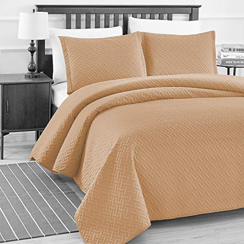 Style Bedspread Ranch (Basic Choice 3-piece Light weight Oversize Quilted Bedspread Coverlet Set - Mocha, Full/Queen)