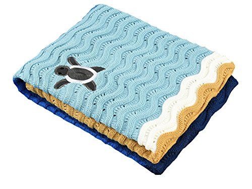 Crocheted Baby Blanket Afghan - LAGHCAT 3D Turtle Wave Kids Blanket Crochet Adult Summer Blankets Four Colors Beach Towels with The Sea Turtles from Beach Climbs to Sea (59