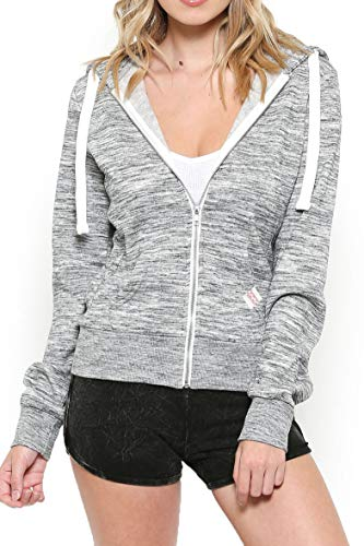 Urban Look Womens Active Long Sleeve Fleece Zip Up Hoodie (Small, B1 Solid_Marled Charcoal)