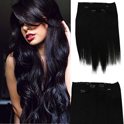 Full Shine Clip-In and Halo Human Hair Extensions in Jet Black