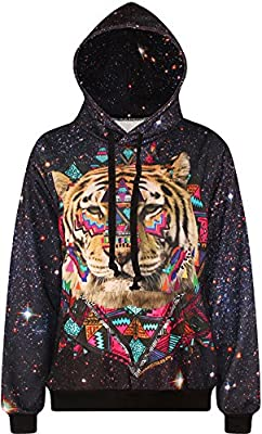 FLYCHEN Men's Digital Print Sweatshirts Hooded Top Galaxy Pattern Hoodie