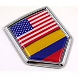 USA Colombia Flag Car Chrome American Colombian Emblem 3D Decal Sticker