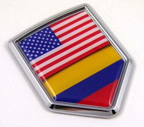 (USA Colombia Flag Car Chrome American Colombian Emblem 3D Decal Sticker)