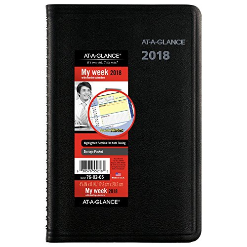 "AT-A-GLANCE Weekly / Monthly Appointment Book / Planner, QuickNotes, January 2018 - December 2018, 4-7/8"" x 8"", Black (760205)"