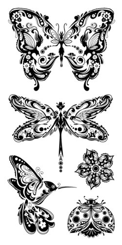 - Inkadinkado Butterfly Clear Stamp Set for Arts and Crafts, 5pc