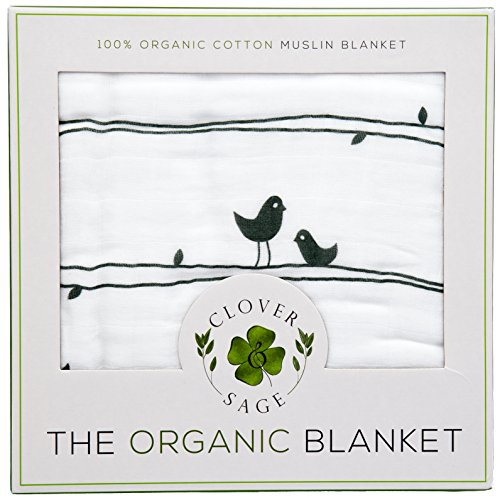 Organic Muslin Baby Toddler Blanket - 100% Hypoallergenic Cotton Bed Blankets - Lucky Birds by Clover & Sage