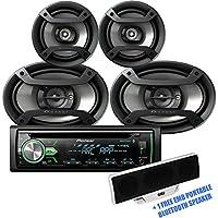 Pioneer DXT-X4969BT Package - DEH-X4900BT CD Player Bluetooth Receiver + 1 Pair TS-695P 6x9 + 1 Pair TS-165P 6.5 Speakers + 1 Free EMB Portable Bluetooth Speaker