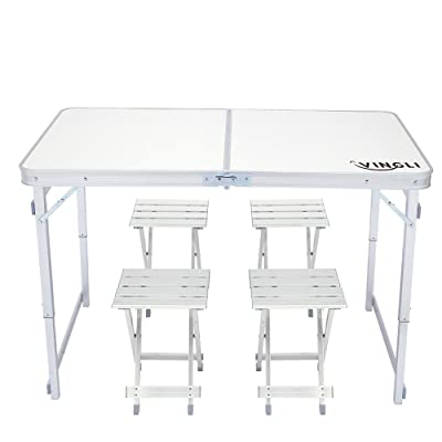 VINGLI 4 Foot Height Adjustable Folding Utility Table with Seats, Portable Multipurpose Camping Dining Picnic Table for Indoor Outdoor Party Commercial Activities: Kitchen & Dining