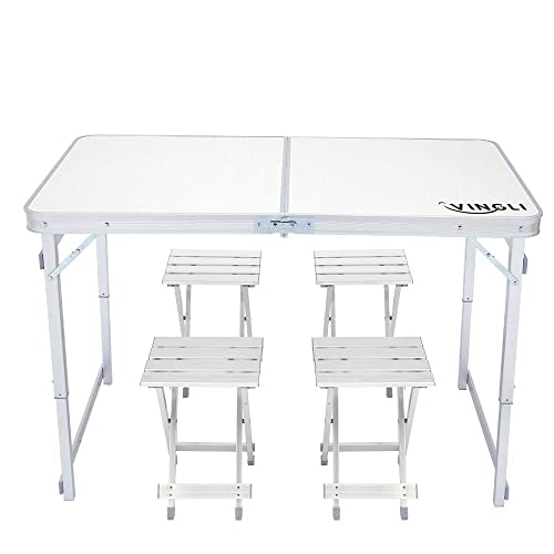VINGLI 4 Foot Height Adjustable Folding Utility Table