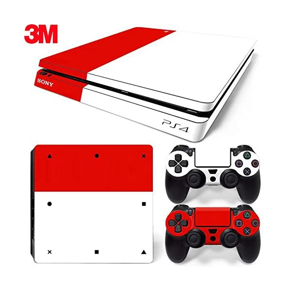 PS4 Slim Skins Console and Controller by ZOOMHITSKINS, Same Decal Quality for Cars, Color Ruby Red Light Soft White… 1