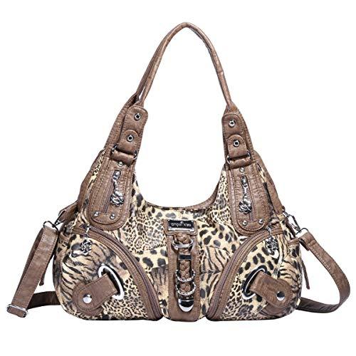 Leopard Print Hobo Bag - Angelkiss Womens Designer Leather Leopard Print Purses and Handbags for Women Hobo Bag Shoulder Top-handle Bags Soft (Brown-2)