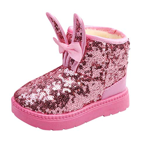 Fheaven Kids Baby Girls Winter Snow Boots Rabbit Ear Blings Sequins Thick Warm Fur Lined Shoes (4-4.5Years, Pink) -
