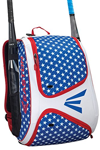 EASTON E110BP Bat & Equipment Backpack Bag | Baseball Softball | 2019 | Stars & Strips | 2 Bat Sleeves | Smart Gear Storage | Vented Shoe Pocket | Rubberized Zipper Pulls | Fence Hook (Best Bat For 10 Year Old 2019)
