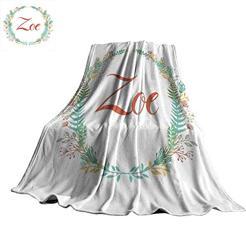 WinfreyDecor Zoe Home Throw Blanket Blossoming Nature Design Foliage Leaves Silhouette Baby Girl Name Arrangement Wreath 60