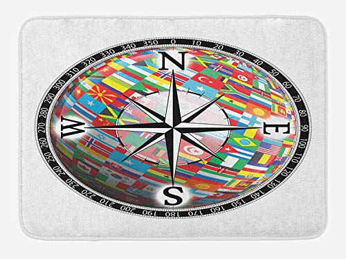 Compass Bath Mat, Flags of The Globe Inside a Compass and Windrose Various Nations Unity Image, Plush Bathroom Decor Mat with Non Slip Backing, 23.6 W X 15.7 W Inches, Black Multicolor