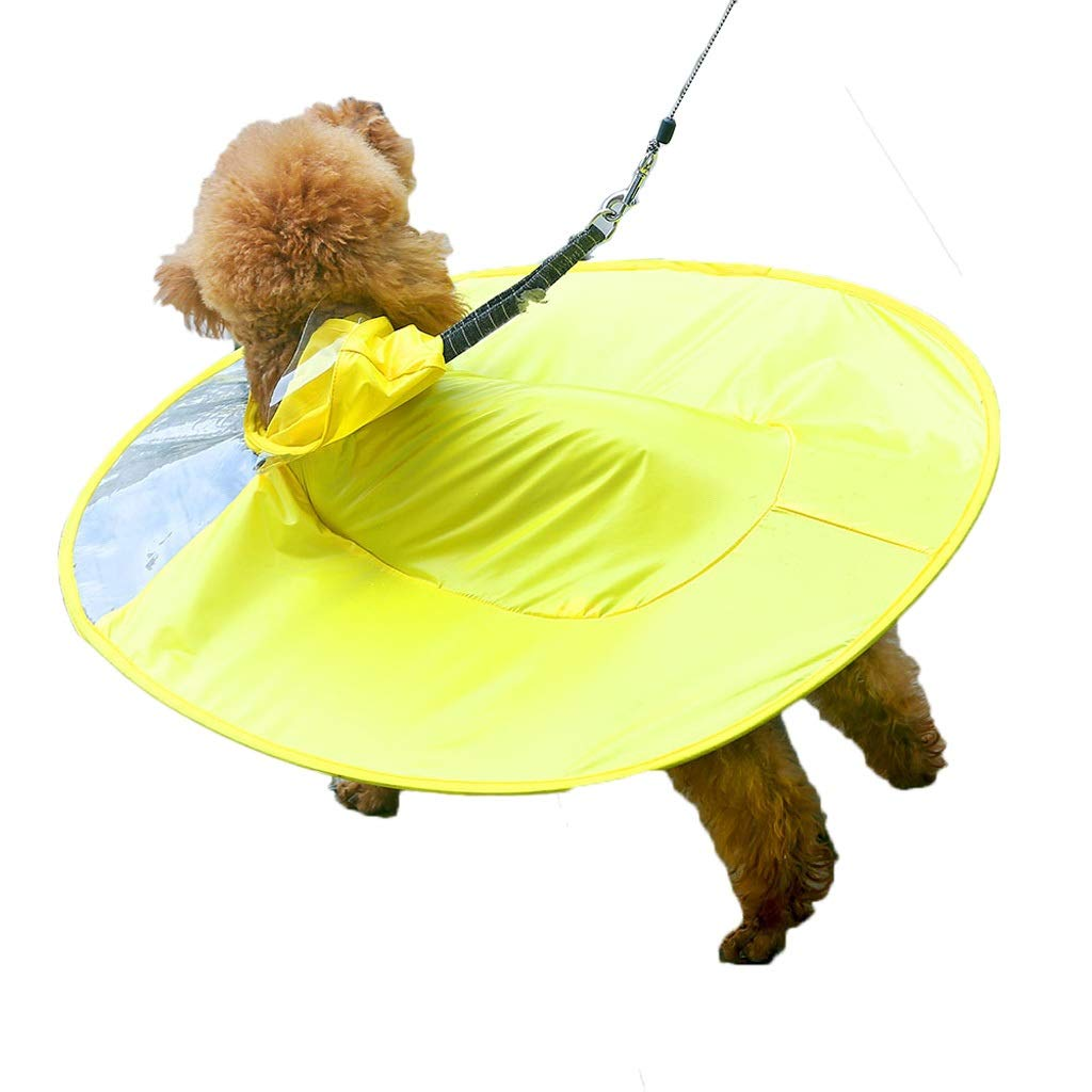 Raincoat Cloak Poncho Dog Transparent Waterproof Sunscreen Cap Small Pet Clothes Outdoor Sports 2 Colors MUMUJIN (Color : Yellow, Size : L)