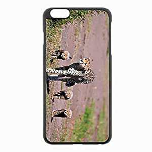 iPhone 6 Plus Black Hardshell Case 5.5inch - leopards walk family Desin Images Protector Back Cover
