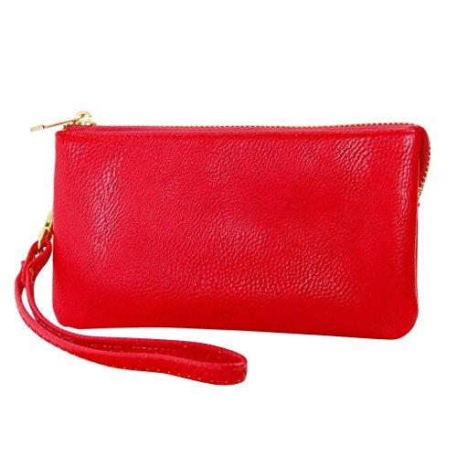 Humble Chic Vegan Leather Wristlet Wallet Clutch Bag - Small Phone Purse Handbag, Red