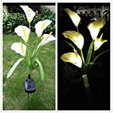 DSstyles 5 LEDs Simulate Calla Lily Pin Lamp Solar Energy Powered Night Light Yard Home Garden Decoration Lighting